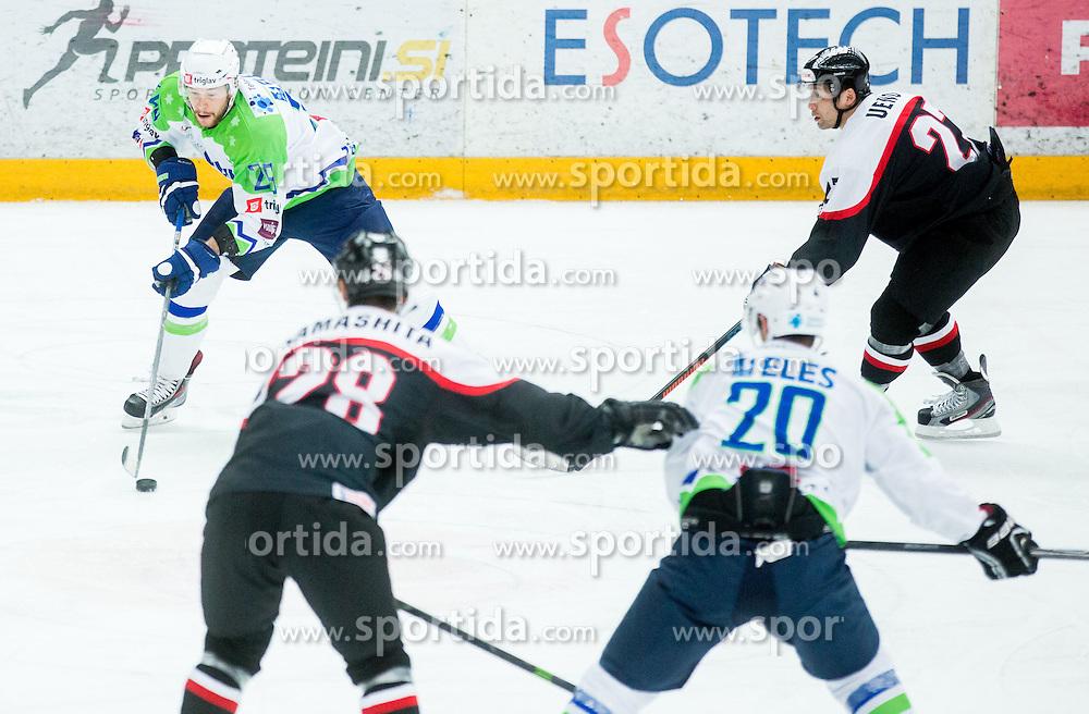 Jan Urbas of Slovenia during ice-hockey friendly match between National teams of Slovenia and Japan, on April 10, 2015 in Arena Podmezakla, Jesenice, Slovenia. Photo by Vid Ponikvar / Sportida