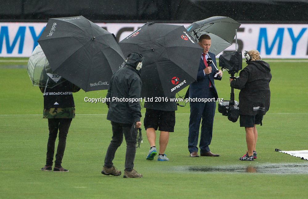 Sky TV do a pitch report as the rain settles in at McLean Park, ODI Cricket, Black Caps v Pakistan, McLean Park, Napier, New Zealand. Thursday, 28 January, 2016. Copyright photo: John Cowpland / www.photosport.nz