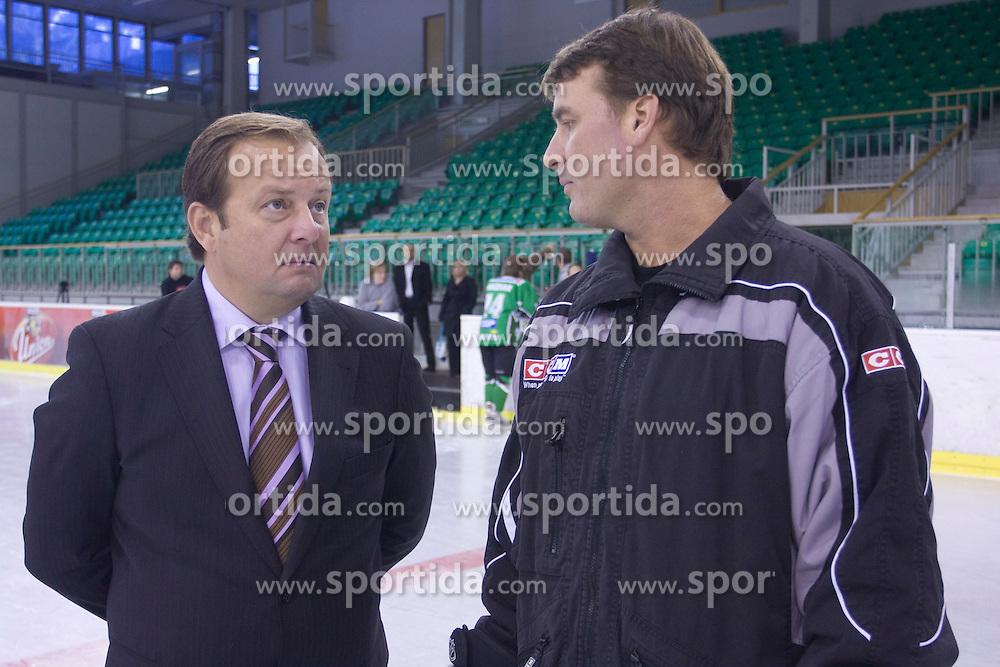 Matjaz Sekelj and coach Mike Posma of HDD Tilia Olimpija before new season 2008/2009,  on September 17, 2008 in Arena Tivoli, Ljubljana, Slovenia. (Photo by Vid Ponikvar / Sportal Images)