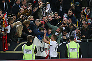 Lukas Podolski of Germany applauds the fans and gives selfies during the International Friendly match between Germany and England at Signal Iduna Park, Dortmund, Germany on 22 March 2017. Photo by Phil Duncan.