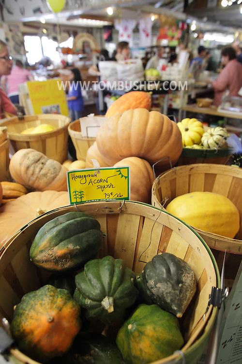 New Hampton, New York - Homegrown squash for sale in the store during the celebration of 100 years in business at Soons Orchards and Farm Market on Oct. 11, 2010. ©Tom Bushey / The Image Works