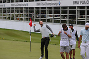 Chris Wood throws the ball into the crowd ofter the 18th hole during the BMW PGA Championship at Wentworth Club, Virginia Water, United Kingdom on 29 May 2016. Photo by Phil Duncan.