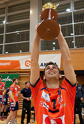 Andrej Flajs of ACH celebrate with a trophy after the volleyball match between ACH Volley and UKO Kropa at Finals of Slovenian Cup 2010, on December 21, 2010 in Dvorana OS, Nova Gorica, Slovenia. ACH Volley defeated Kropa 3-0 and become Slovenian Cup Champion. (Photo By Vid Ponikvar / Sportida.com)