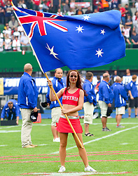 15.07.2011, Ernst Happel Stadion, Wien, AUT, American Football WM 2011, Austria (AUT) vs Australia (AUS), im Bild cheerleader with australian flag // during the American Football World Championship 2011 game, Austria vs Australia, at Ernst Happel Stadion, Wien, 2011-07-15, EXPA Pictures © 2011, PhotoCredit: EXPA/ T. Haumer