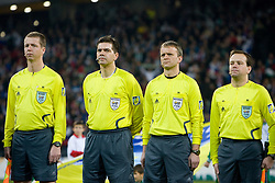 Referees Kim Haglund, Terje Hauge, Frank Andas and Tommy Skjerven of Norway at FIFA World Cup South Africa 2010 Qualifying Second Play off match between Slovenia and Russia, on November 18, 2009, in Stadium Ljudski vrt, Maribor, Slovenia. Slovenia won 1:0 and qualified for the FIFA World Championships 2010. (Photo by Vid Ponikvar / Sportida)