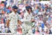 Alastair Cook of England walks off for tea with Keaton Jennings of England during his final test match innings during day 3 of the 5th test match of the International Test Match 2018 match between England and India at the Oval, London, United Kingdom on 9 September 2018.