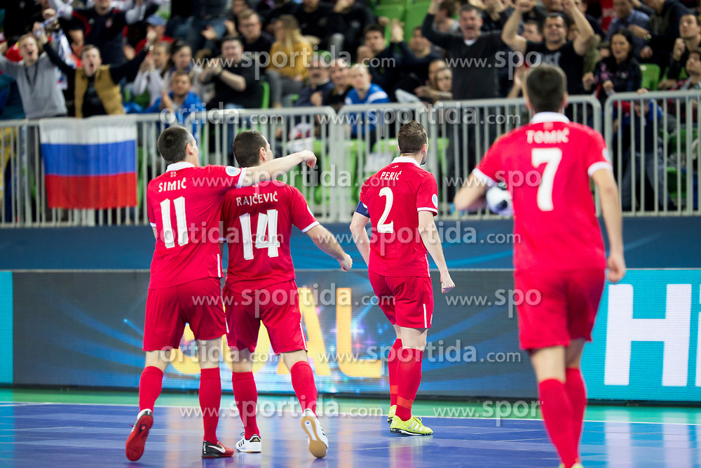 Players of National team of Serbia celebrate goal during futsal quarter-final match between National teams of Kazakhstan and Serbia at Day 7 of UEFA Futsal EURO 2018, on February 5, 2018 in Arena Stozice, Ljubljana, Slovenia. Photo by Urban Urbanc / Sportida