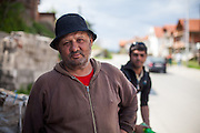 Portrait of a man at the Roma part of Delcevo during door to door activity with Romina. The family is known for making their living with collecting plastic bottles and cans. The NGO workers visit families, deliver brochures and putting up posters in the community to inform about health related issues and patients rights.