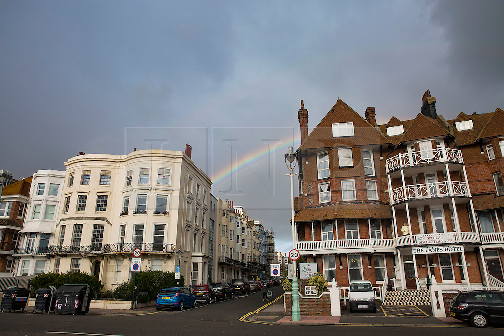 Brighton, UK. 22/11/2016, A colourful rainbow can be seen over Brighton as Strong winds and rain are hitting the seaside resort. Photo Credit: Hugo Michiels