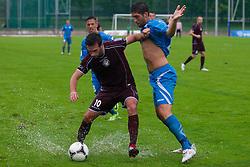 Dragan Ovcina of NK Triglav & Miha Mevlja of ND Gorica during football match between NK Triglav Kranj and ND Gorica, 7th Round of Prva Liga, on 26 August, 2012, in Sportni center, Kranj, Slovenia. (Photo by Grega Valancic / Sportida)