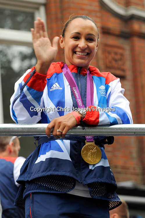 Jessica Ennis with other Team GB Athletes and Medal Winners parade through the streets on The 2012 Olympic Celebration Parade, London, Monday September 10, 2012. Photo By Chris Joseph / i-Images<br />