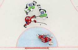 Jan Urbas of Slovenia and Sabahudin Kovacevic of Slovenia vs Ole-Kristian Tollefsen of Norway and Lars Haugen of Norway during Ice Hockey match between Slovenia and Norway at Day 8 in Group B of 2015 IIHF World Championship, on May 8, 2015 in CEZ Arena, Ostrava, Czech Republic. Photo by Vid Ponikvar / Sportida