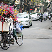 A local flower vendor dodges the frantic traffic of Hanoi's Old Quarter.