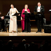 April 25, 2011 - Manhattan, NY :     (STANDING FROM LEFT TO RIGHT) Sylvia Schwartz, Soprano, Bernarda Fink, Mezzo-Soprano, Michael Schade, Tenor, Thomas Quasthoff, Bass-Baritone, and pianists Malcolm Martineau, front, and Justus Zeyen, rear, perform works by Robert Schumann and and Johannes Brahms in Carnegie Hall's Stern Auditorium on Monday night.  ..CREDIT: Karsten Moran for The New York Times