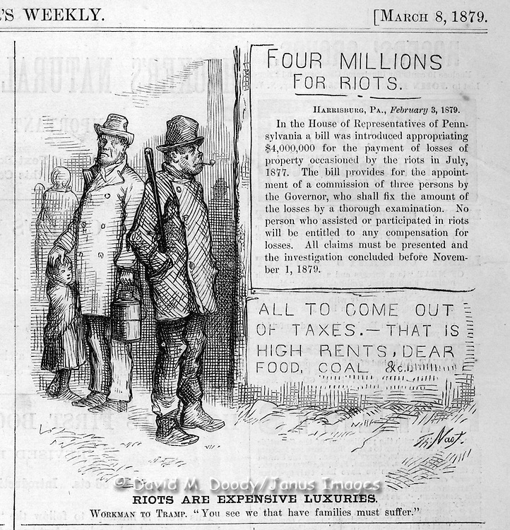 """Riots are expensive luxuries""  (in taxes to the working man.)  Nast political cartoon on the 1879  1877 riots Harper's Weekly March 8, 1879 politics, satire"