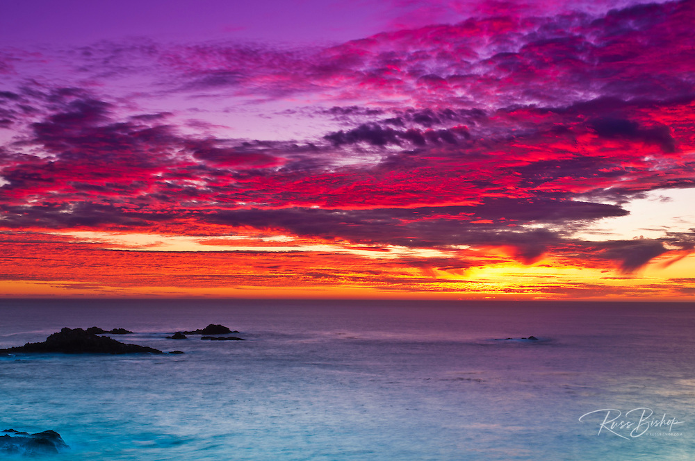 Sunset over the Pacific Ocean, Point Lobos State Reserve, Carmel, California USA