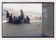 Proteste contro il summit del G8, Genova luglio 2001. 17 Luglio. Allo stadio Carlini, campeggio del movimento dei Disobbedienti (ex Tute Bianche).