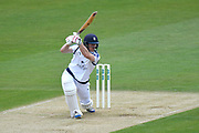Jimmy Adams of Hampshire hits four runs during the Specsavers County Champ Div 1 match between Hampshire County Cricket Club and Yorkshire County Cricket Club at the Ageas Bowl, Southampton, United Kingdom on 21 April 2017. Photo by Graham Hunt.