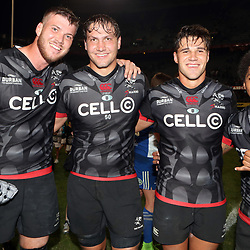 DURBAN, SOUTH AFRICA - MAY 27: Stephan Lewies with Etienne Oosthuizen - Kobus van Wyk and Garth April of the Cell C Sharks during the Super Rugby match between Cell C Sharks and DHL Stormers at Growthpoint Kings Park on May 27, 2017 in Durban, South Africa. (Photo by Steve Haag/Gallo Images)