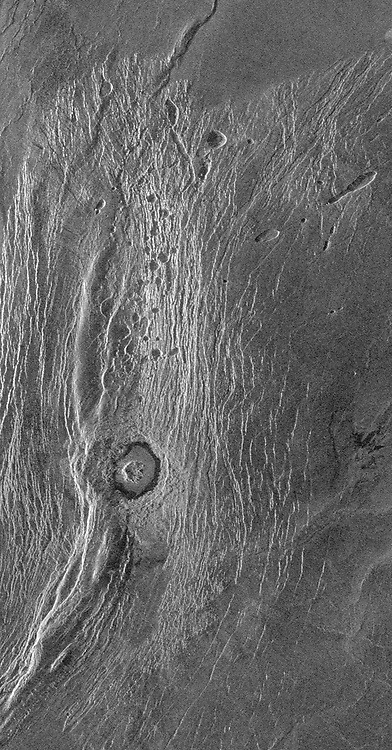 This Magellan full-resolution images show the northern part of the Akna Montes (mountains) of Venus.