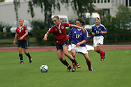 28.07.2004, Hyvink??, Finland..UEFA Women's Under-19 European Championship.Group B, Norway v France.Anneli Giske (Norway) v Elise Bussaglia (France).©Juha Tamminen.....ARK:k