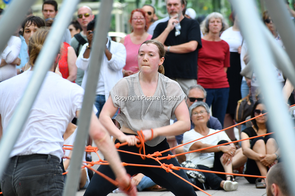 9 Minutes performs at GDIF - Dancing City at Canary Wharf, on 29 June 2019, London, UK.