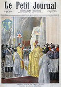 Festival honouring  Saint Joan (Joan of  Arc - c1412-1431) The Maid of Orleans, French national heroine of The Hundred Years' War. Blessing the banner in Notre Dame, Paris.  From 'Le Petit Journal', Paris, 7 May 1894.