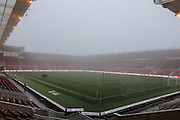 The Riverside Stadium surrounded with fog during the Sky Bet Championship match between Middlesbrough and Reading at the Riverside Stadium, Middlesbrough, England on 12 April 2016. Photo by Simon Davies.