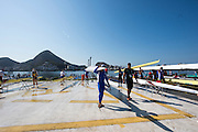 "Rio de Janeiro. BRAZIL.   Busy Boating Area, 2016 Olympic Rowing Regatta. Lagoa Stadium,<br /> Copacabana,  ""Olympic Summer Games""<br /> Rodrigo de Freitas Lagoon, Lagoa. Local Time 15:09:14   Friday  05/08/2016 <br /> <br /> [Mandatory Credit; Peter SPURRIER/Intersport Images]"