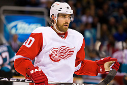 April 29, 2010; San Jose, CA, USA;  Detroit Red Wings left wing Henrik Zetterberg (40) against the San Jose Sharks during the second period of game one of the western conference semifinals of the 2010 Stanley Cup Playoffs at HP Pavilion. San Jose defeated Detroit 4-3. Mandatory Credit: Jason O. Watson / US PRESSWIRE