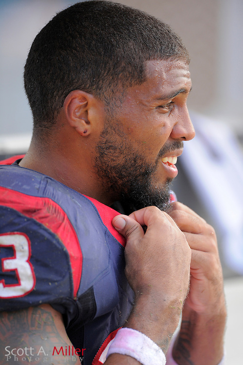 Houston Texans running back Arian Foster (23) on the sideline with his helmet off during the NFL game between the Texans and the Jacksonville Jaguars, at EverBank Field on September 16, 2012 in Jacksonville, Florida. The Texans won 27-7...©2012 Scott A. Miller.