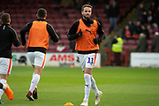Luton Town midfielder Andrew Shinnie warms up ahead of the EFL Sky Bet League 1 match between Scunthorpe United and Luton Town at Glanford Park, Scunthorpe, England on 26 December 2018.