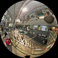 Kyoto Train Station Level Two -- Fisheye Panorama. Composite of 44 images taken with a Leica CL camera and 18 mm f/2.8 lens (ISO 400, 18 mm, f/5.6, 1/60 sec). Raw images processed with Capture One Pro and AutoPano Giga Pro.