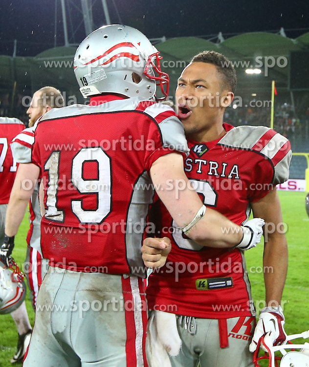 04.06.2014, UPC Arena, Graz, AUT, American Football Europameisterschaft 2014, Gruppe B, Frankreich (FRA) vs Oesterreich (AUT), im Bild Philipp Sommer, (Team Austria, WR, #19) und Laurinho Walch, (Team Austria, WR, #6) // during the American Football European Championship 2014 group B game between France vs Austria at the UPC Arena, Graz, Austria on 2014/06/04. EXPA Pictures © 2014, PhotoCredit: EXPA/ Thomas Haumer
