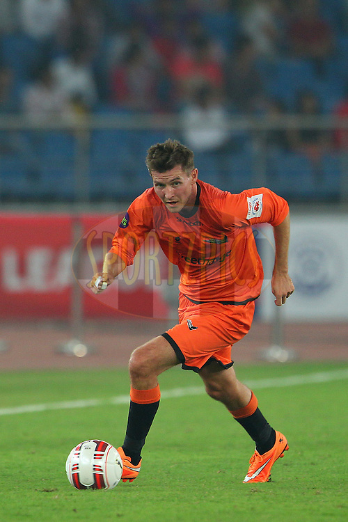 Mads Junker of Delhi Dynamos FC during match 16 of the Hero Indian Super League between The Delhi Dynamos FC and NorthEast United FC held at the Jawaharlal Nehru Stadium, Delhi, India on the 29th October 2014.<br /> <br /> Photo by:  Ron Gaunt/ ISL/ SPORTZPICS