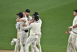 March 26, 2018 - Auckland, Auckland, New Zealand - Blackcaps celebrate taking wicket of James Anderson of England during Day Five of the First Test match between New Zealand and England at Eden Park in Auckland on Mar 26, 2018. Blackcaps win by an inners and 48 runs (Credit Image: © Shirley Kwok/Pacific Press via ZUMA Wire)