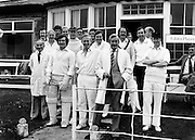 A cricket match between members of the Press and RTE personnel at the Phoenix Club. Among the well-known faces are Fred Cogley, (in cap and Aran jumper); next to him is the tenor Frank Patterson and second from right, second row, is newsreader Jim Sherwin.<br />