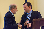 U.S. Senator Ted Cruz speaks with organizer Frank Gaffney after addressing the South Carolina National Security Action Summit on March 14, 2015 in West Columbia, South Carolina.