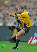 Quade Cooper follows through with the sideline conversion of Luke Burgess's 1st half try during action from the Rugby Union Test Match played between Australia and Ireland at Suncorp Stadium (Brisbane) on Saturday 26th June 2010 ~ Australia (22) defeated Ireland (15) ~ © Image Aura Images.com.au ~ Conditions of Use: This image is intended for Editorial use as news and commentry in print, electronic and online media ~ Required Image Credit : Steven Hight (AURA Images)For any alternative use please contact AURA Images