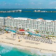 Aerial view of the Hyatt Zilara Cancun.