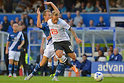 Johnny Russell attacks during the Sky Bet Championship match between Birmingham City and Derby County at St Andrews, Birmingham, England on 21 August 2015. Photo by Alan Franklin.