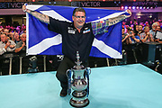 World Matchplay Champion 2018 Gary Anderson during the BetVictor World Matchplay Darts 2018 final at Winter Gardens, Blackpool, United Kingdom on 29 July 2018. Picture by Shane Healey.