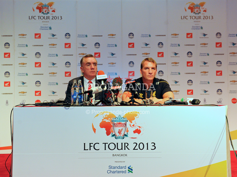 BANGKOK, THAILAND - Friday, July 26, 2013: Liverpool's manager Brendan Rodgers and Managing Director Ian Ayre during a press conference at the Plaza Athenee Hotel ahead of their preseason friendly match against Thailand. (Pic by David Rawcliffe/Propaganda)
