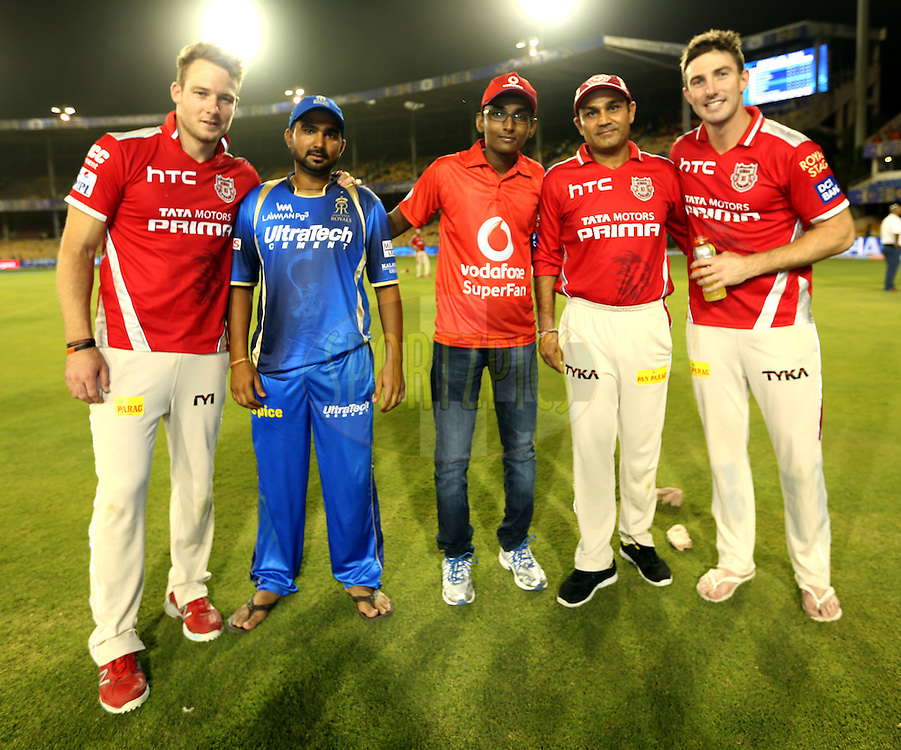 Kings XI Punjab player David Miller,Rajasthan Royals player Rahul Tewatia, vodafone fan, Kings XI Punjab player Virender Sehwag and Kings XI Punjab player Shaun Marsh during the presentation of the match 18 of the Pepsi IPL 2015 (Indian Premier League) between The Rajasthan Royals and The Kings XI Punjab held at the Sardar Patel Stadium in Ahmedabad , India on the 21st April 2015.<br /> <br /> Photo by:  Sandeep Shetty / SPORTZPICS / IPL