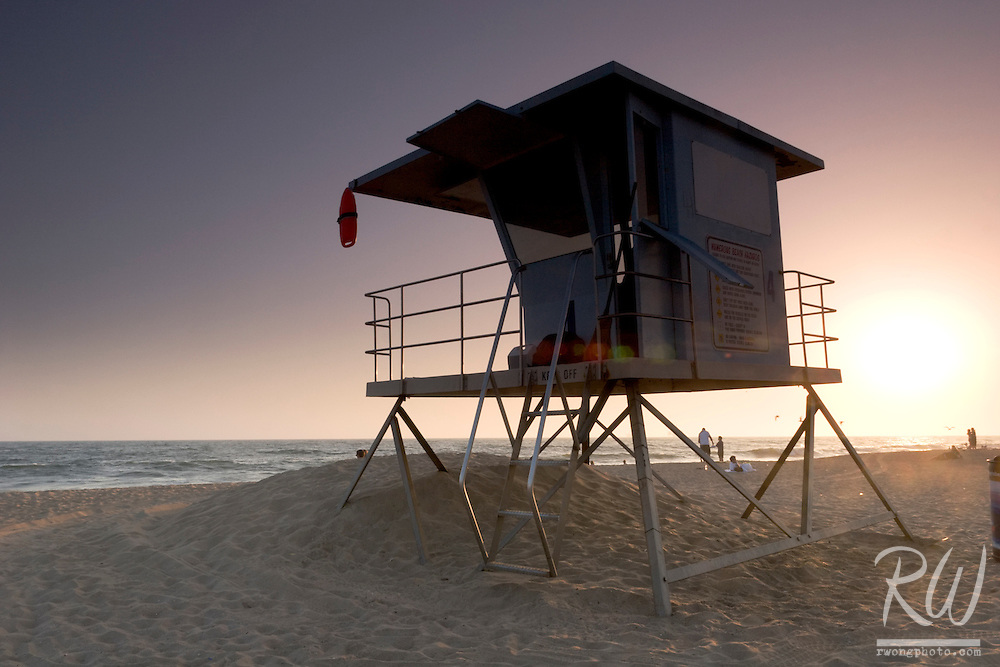 Lifeguard Station at Sunset, Huntington State Beach, California