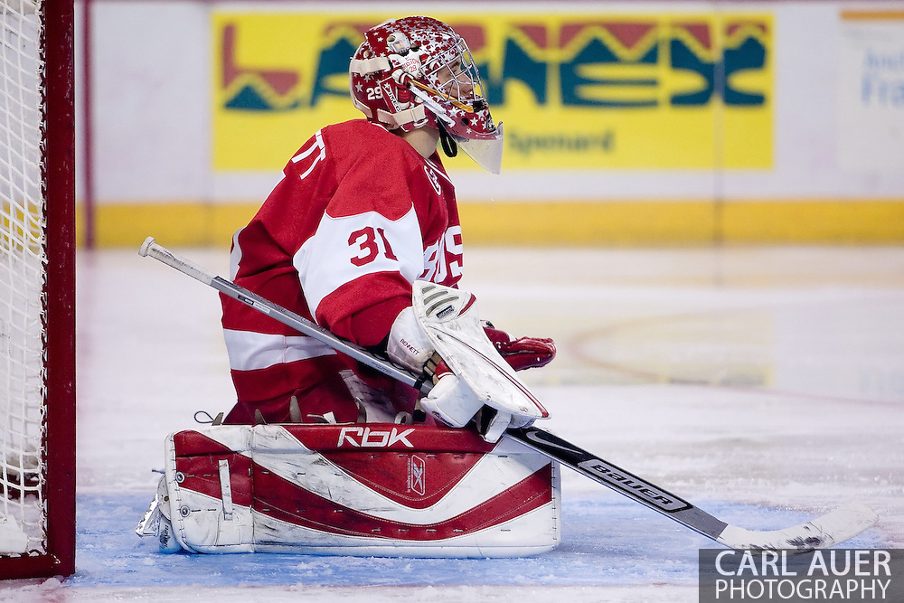 October 13, 2007 - Anchorage, Alaska:  Brett Bennett (31) of the Boston University Terriers takes a break during game 4 of the Nye Frontier Classic at the Sullivan Arena.  UAA and BU would tie 4-4 giving Robert Morris University the title of Nye Frontier Classic Champion.