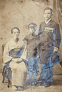 oxidized vintage image of family studio portrait Japan