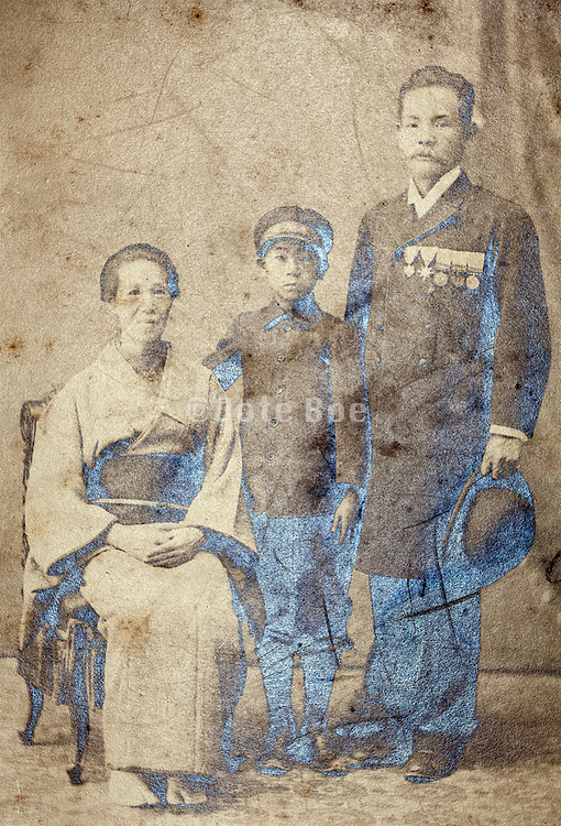 oxidized vintage image of family studio portrait Japan
