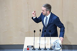 "27.05.2019, Hofburg, Wien, AUT, Sondersitzung des Nationalrates, Sitzung des Nationalrates aufgrund des Misstrauensantrags der Liste JETZT, FPOE und SPOE gegen Bundeskanzler Sebastian Kurz (OeVP) und die Bundesregierung, im Bild Herbert Kickl (FPÖ) // during special meeting of the National Council of austria due to the topic ""motion of censure against the federal chancellor Sebastian Kurz (OeVP) and the federal government"" at the Hofburg in Wien, Australia on 2019/05/27. EXPA Pictures © 2019, PhotoCredit: EXPA/ Lukas Huter"