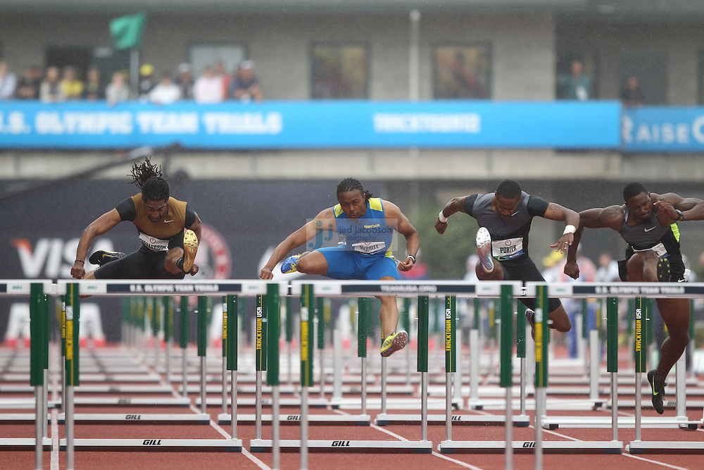 Jason Richardson (L) and Aries Merritt compete in the finals for the 110m hurdles during day 9 of the U.S. Olympic Trials for Track & Field at Hayward Field in Eugene, Oregon, USA 30 Jun 2012..(Jed Jacobsohn/for The New York Times)....